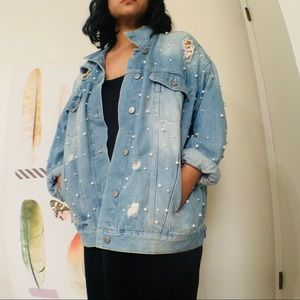 Free People Sunday Funday Pearl Denim Jacket